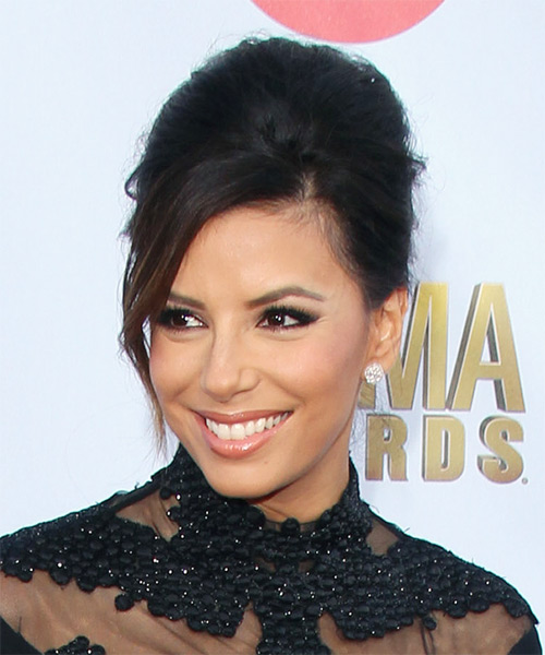 Eva Longoria Updo Long Straight Formal Wedding with Side Swept Bangs - Dark Brunette - side view