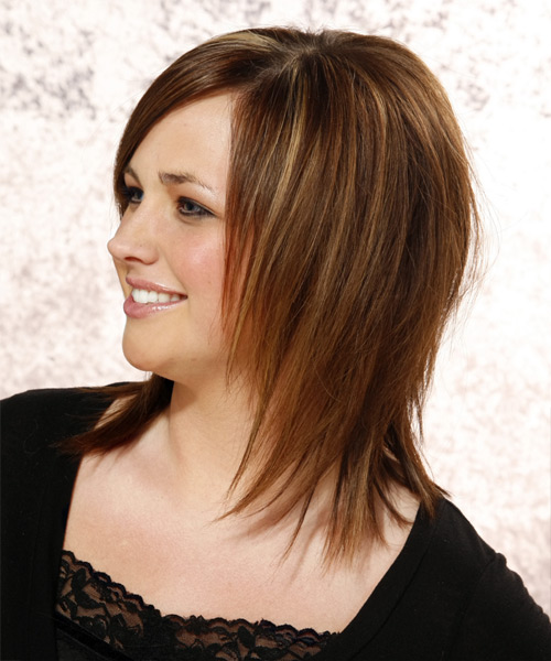 Long Straight Formal Hairstyle with Side Swept Bangs - Dark Brunette (Chestnut) Hair Color - side view