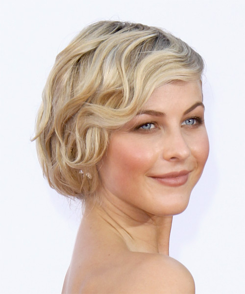 Julianne Hough Short Wavy Formal Hairstyle with Side Swept Bangs - Light Blonde Hair Color - side view