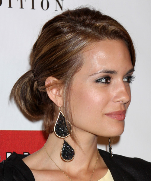 Torrey DeVitto Straight Casual Updo Hairstyle with Side Swept Bangs - Medium Brunette (Chestnut) Hair Color - side view