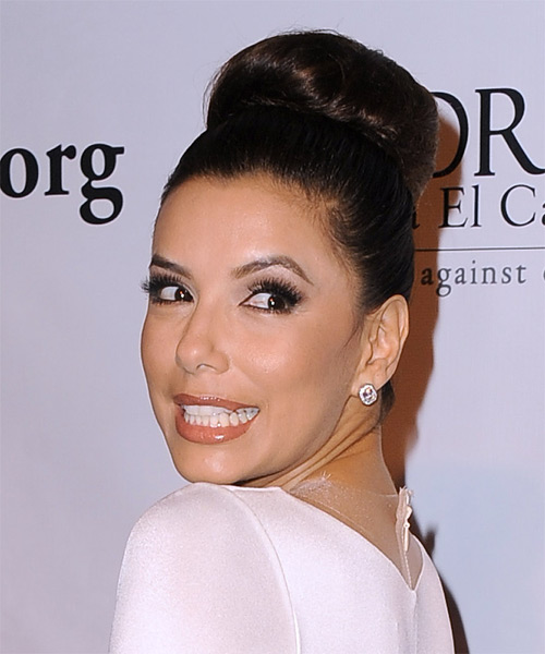 Eva Longoria Formal Straight Updo Hairstyle - Dark Brunette (Mocha) - side view 1