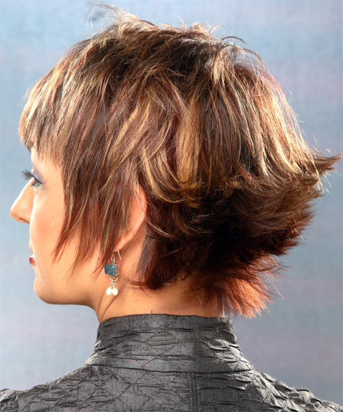 Short Straight Casual  with Layered Bangs - Medium Brunette - side view