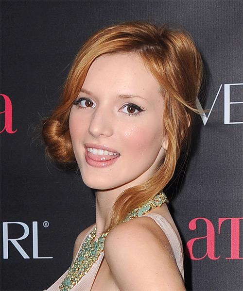 Bella Thorne Casual Straight Updo Hairstyle - Medium Red (Copper) - side view 1