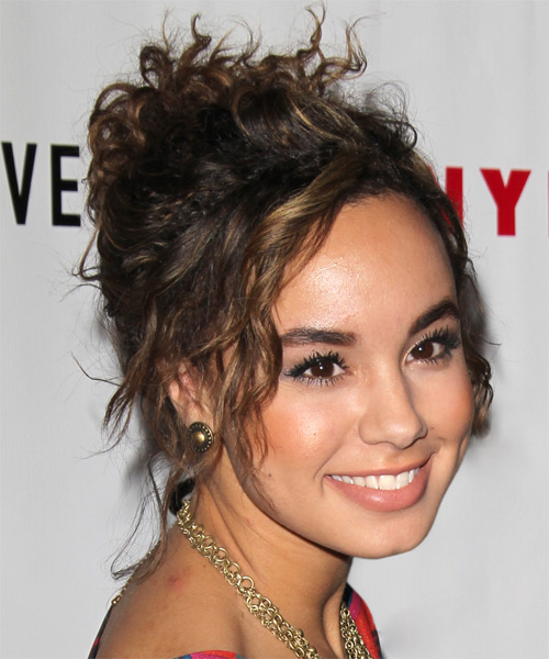 Savannah Jayde Casual Curly Updo Hairstyle - Dark Brunette - side view