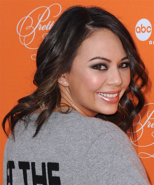 Janel Parrish Long Wavy Formal Hairstyle - Dark Brunette Hair Color - side view
