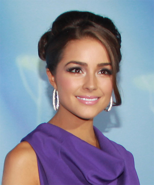 Olivia Culpo Straight Formal Updo Hairstyle with Side Swept Bangs - Dark Brunette Hair Color - side view