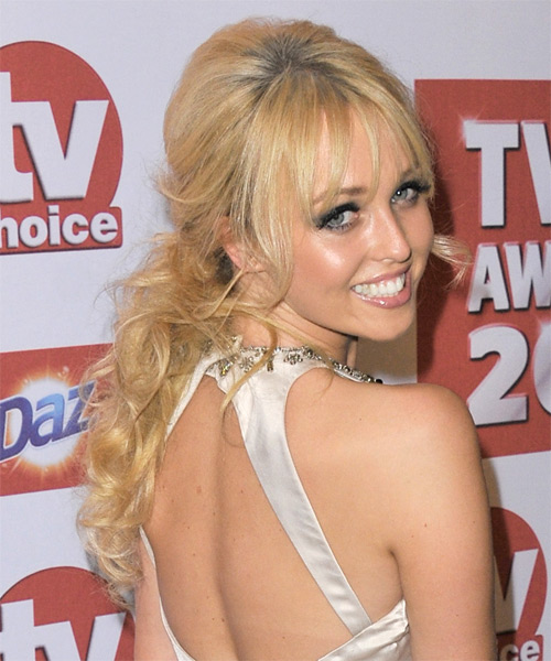 Jorgie Porter Formal Curly Updo Hairstyle - Light Blonde (Golden) - side view