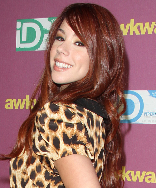 Jillian Rose Reed Long Straight Formal Hairstyle with Side Swept Bangs - Medium Red Hair Color - side view