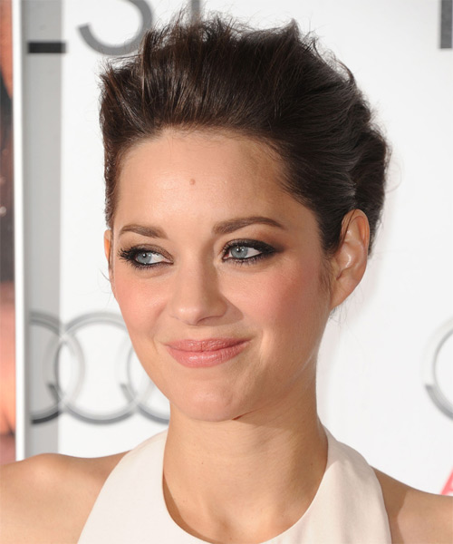 Marion Cotillard Straight Formal Updo Hairstyle - Dark Brunette (Mocha) Hair Color - side view