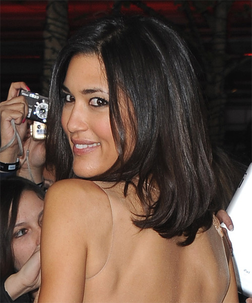 Julia Jones Medium Straight Bob Hairstyle - Black - side view