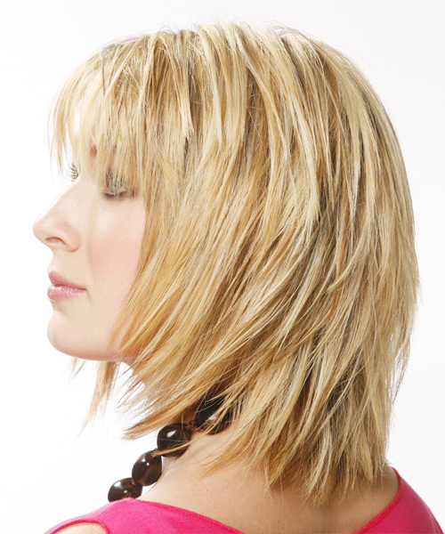Medium Straight Casual  with Layered Bangs - Medium Blonde - side view