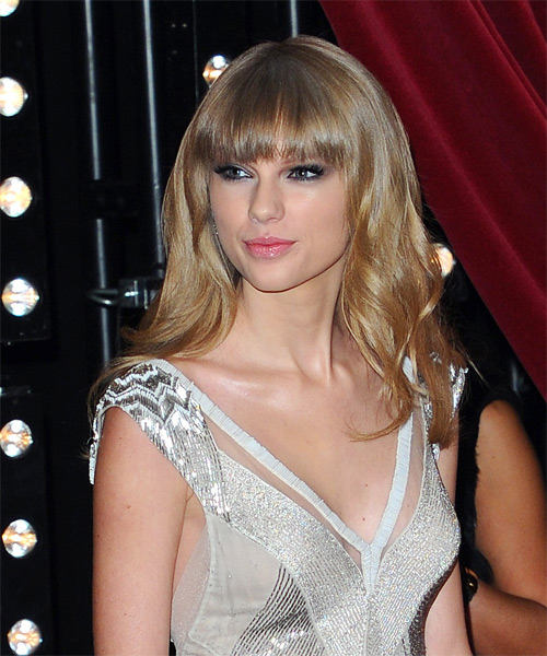 Taylor Swift Long Wavy Hairstyle - Medium Blonde (Ash) - side view