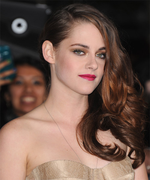 Kristen Stewart Long Wavy Hairstyle - Medium Brunette (Auburn) - side view 1