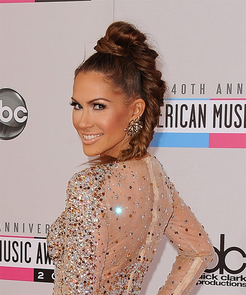 Kimberly Cole - Casual Updo Long Straight Hairstyle - side view
