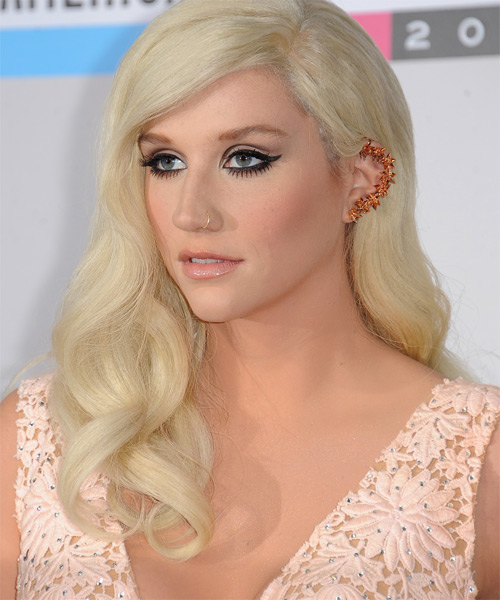 Kesha Long Wavy Formal Hairstyle - Light Blonde Hair Color - side view