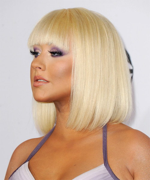 Christina Aguilera Medium Straight Formal Bob Hairstyle with Blunt Cut Bangs - Light Blonde Hair Color - side view