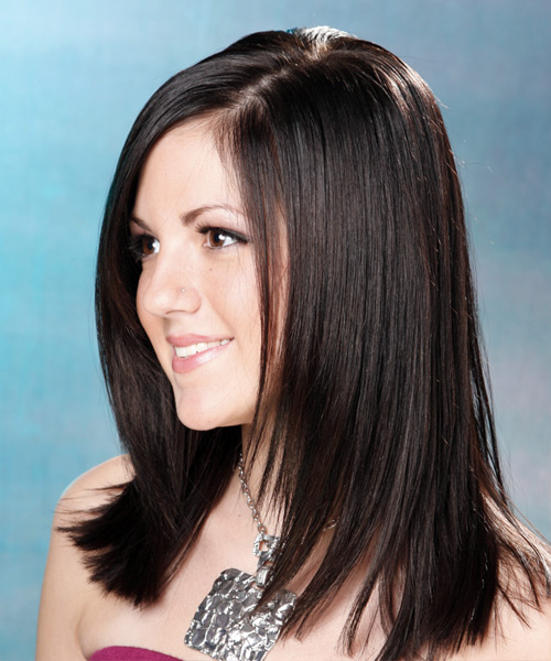 Long Straight Formal Hairstyle (Mocha) - side view 1