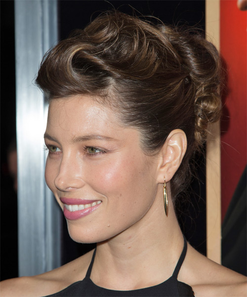 Jessica Biel Updo Long Straight Formal Updo Hairstyle - Medium Brunette Hair Color - side view