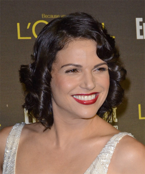 Lana Parrilla Short Curly Hairstyle - Dark Brunette - side view 1