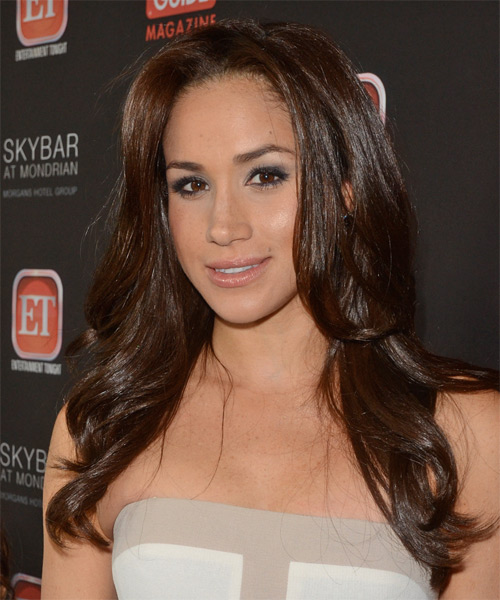 Meghan Markle Long Straight Formal Hairstyle - Dark Brunette (Mocha) Hair Color - side view