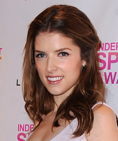 Anna Kendrick Half Up Long Straight Casual  - Medium Brunette - side view
