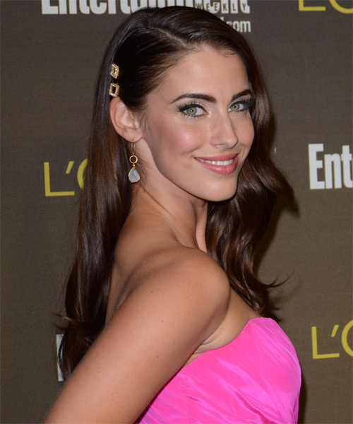 Jessica Lowndes Long Wavy Casual Hairstyle - Medium Brunette (Auburn) Hair Color - side view