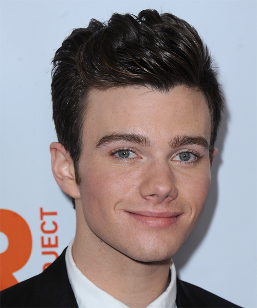Chris Colfer Short Straight Hairstyle - Dark Brunette - side view 1