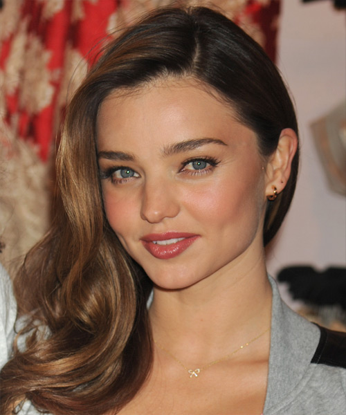 Miranda Kerr Long Straight Hairstyle - Medium Brunette - side view