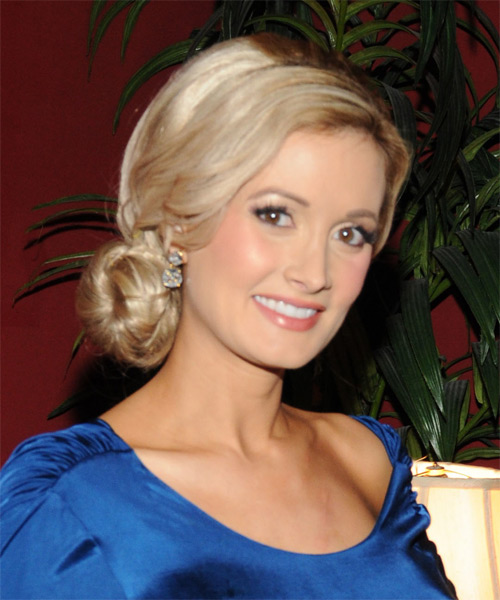 Holly Madison Updo Long Straight Formal Updo Hairstyle - Medium Blonde Hair Color - side view