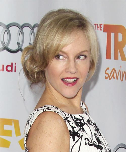 Rachael Harris Casual Straight Updo Hairstyle - Light Blonde (Champagne) - side view 1