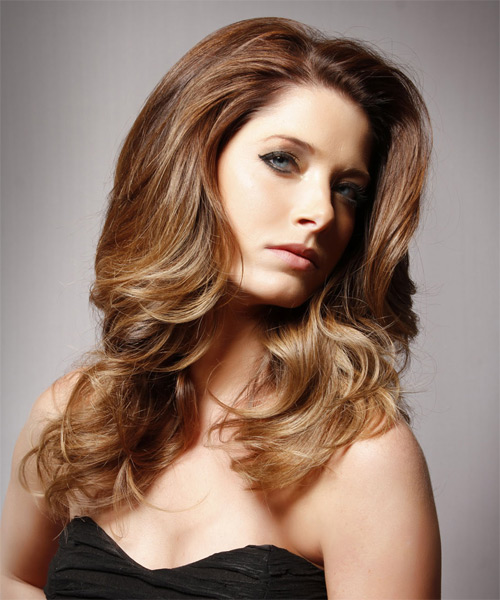 Long Wavy Formal  - Medium Brunette (Chestnut) - side view
