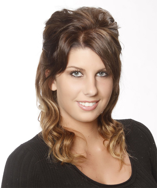 Updo Medium Curly Casual  - Medium Brunette (Chestnut) - side view