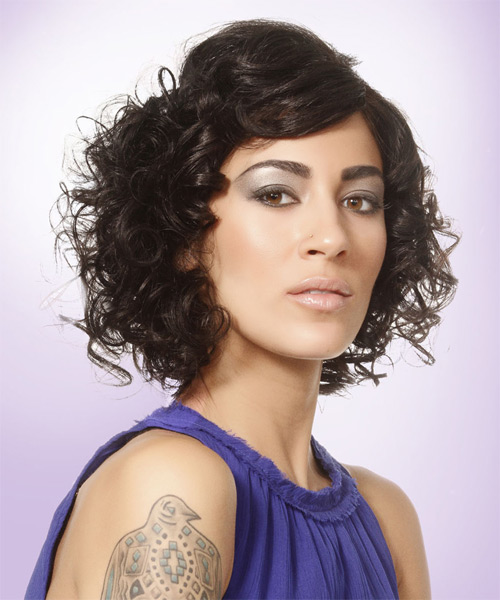 Short Curly Formal  with Side Swept Bangs - Black - side view
