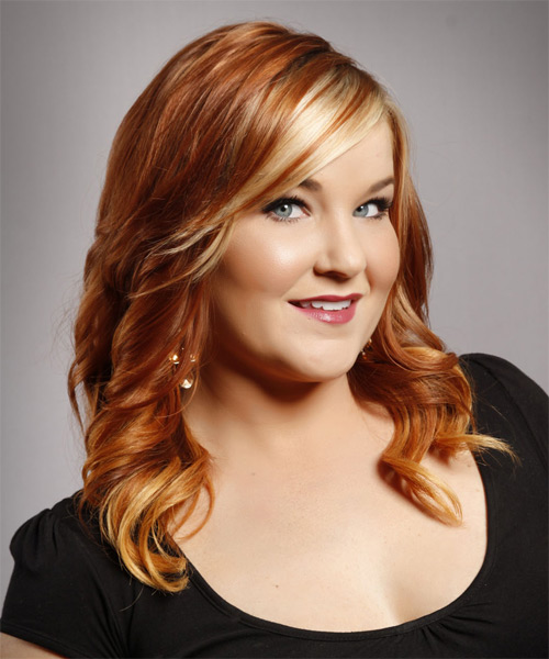 Long Wavy Formal Hairstyle - Medium Red (Copper) - side view 1