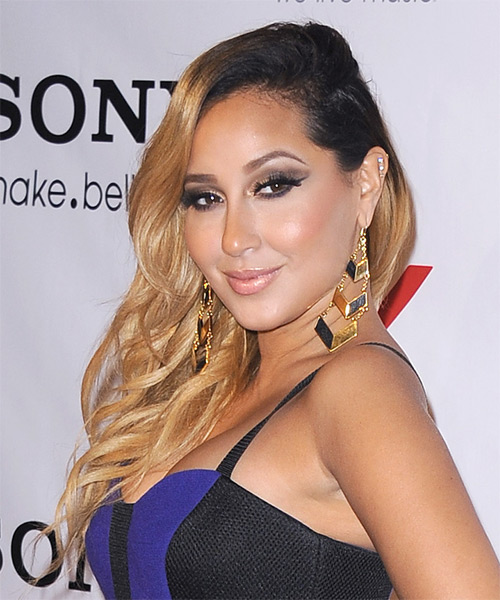 Adrienne Bailon Long Wavy Hairstyle - Dark Blonde (Golden) - side view 1