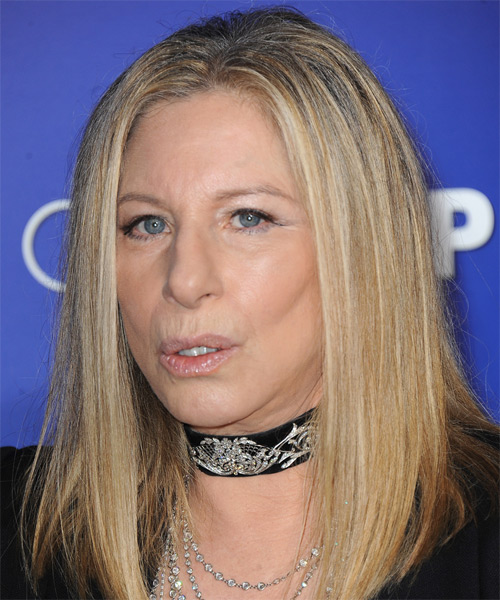 Barbra Streisand Long Straight Hairstyle - Medium Blonde - side view