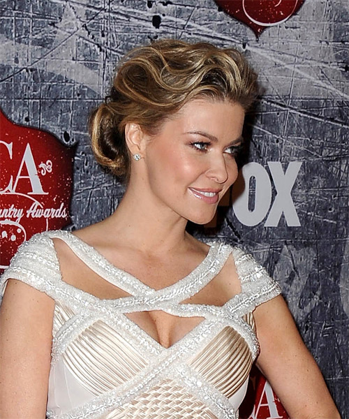 Carmen Electra Formal Straight Updo Hairstyle - Dark Blonde - side view