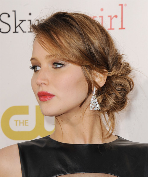 Jennifer Lawrence Casual Straight Updo Hairstyle - side view 1