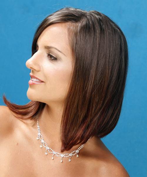 Long Straight Formal  - Medium Brunette - side view