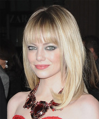 Emma Stone Long Straight Formal  - side view