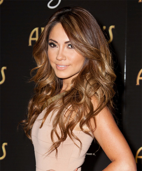 Jessica Burciaga Long Wavy Hairstyle - Medium Brunette (Copper) - side view