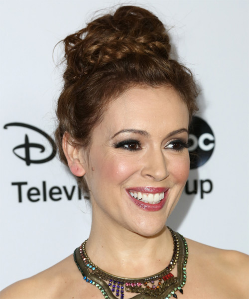 Alyssa Milano Curly Casual Updo Braided Hairstyle - Dark Brunette (Auburn) Hair Color - side view
