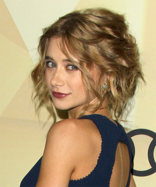 Olesya Rulin Curly Casual Updo Hairstyle - Medium Blonde (Ash) Hair Color - side view