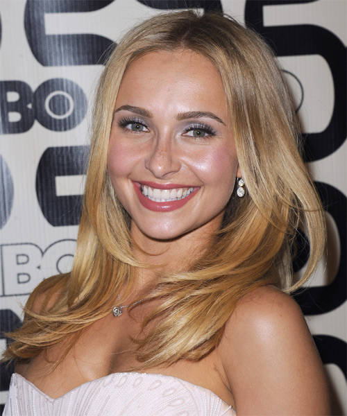 Hayden Panettiere Long Straight Hairstyle - Medium Blonde (Golden) - side view