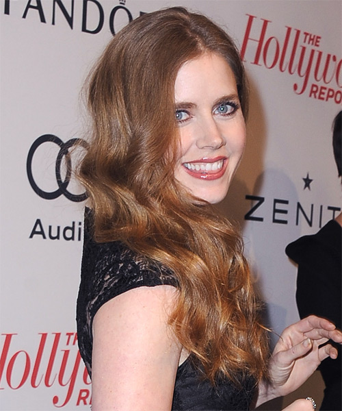 Amy Adams Long Wavy Hairstyle - Medium Brunette (Auburn) - side view