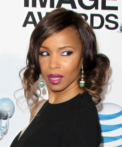 Elise Neal Curly Formal Updo Hairstyle - Dark Brunette (Mocha) Hair Color - side view