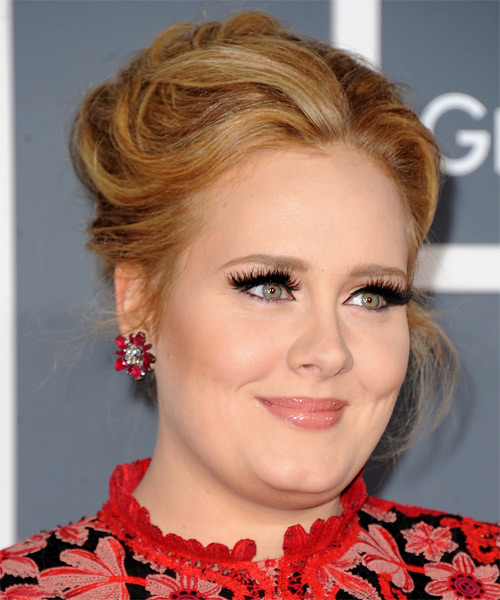 Adele Formal Straight Updo Hairstyle - Medium Blonde (Copper) - side view