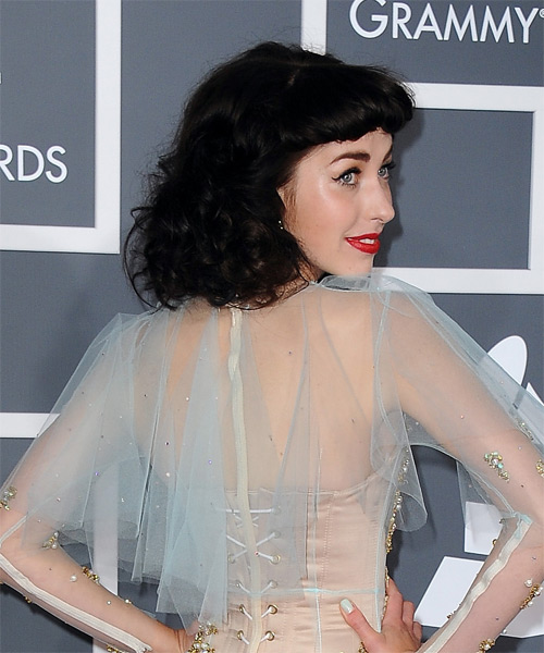 Kimbra Short Curly Formal Hairstyle with Blunt Cut Bangs - Dark Brunette Hair Color - side view