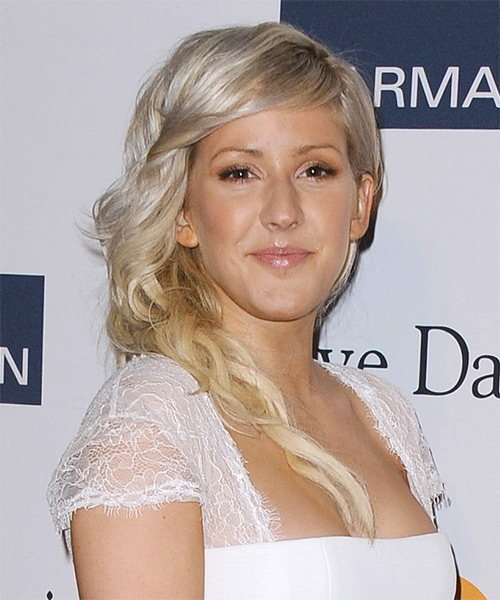 Ellie Goulding Long Wavy Formal Hairstyle - Light Blonde Hair Color - side view