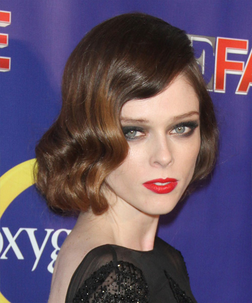 Coco Rocha Short Wavy Formal Bob Hairstyle - Dark Brunette Hair Color - side view